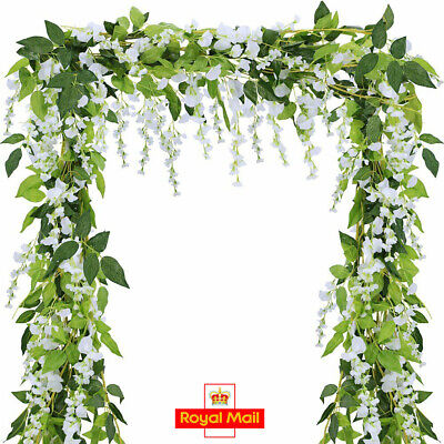 2XArtificial Wisteria Vine 7FT Garland Plant Foliage Outdoor Trailing Flowers BK