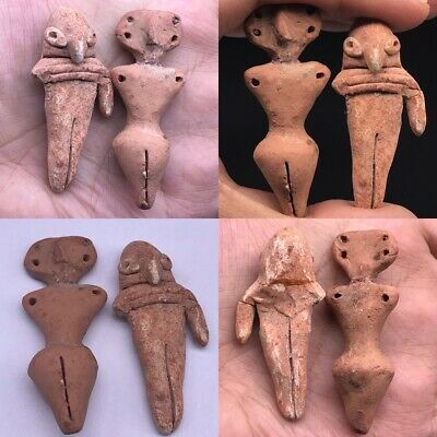 Indus Valley Civilization Two Baby Terracotta Fertility Goddess #A5