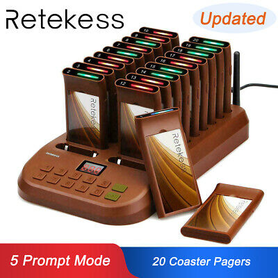 Restaurant Guest Call Wireless Paging Queuing Calling System W/ 20*Coaster Pager