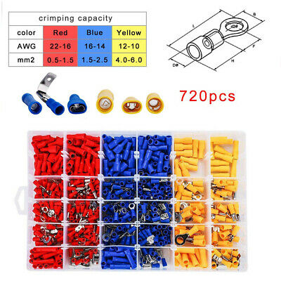 720pcs Electrical Cable Wire Connectors Assorted Insulated Crimp Terminals Spade