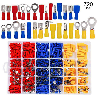 720 Assorted Insulated Electrical Wire Terminals Crimp Connectors Spade Kit Uk