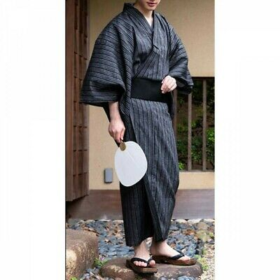 Japanese Men's Yukata Summer Kimono Obi Koshi-Himo Set C-15 Japan with Tracking