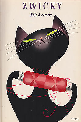 ZWICKY Black cat vintage poster Art print  700mm x 500mm painting wall decor
