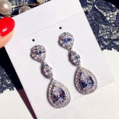 Crystal Cluster Drop Wedding Earring Superior Cut Very Shiny Cubic Zirconia