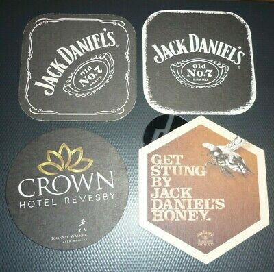 Collectable whiskey coasters: Set of 4 assorted Jack Daniels whiskey coasters