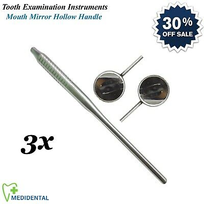 3-PCs Dental Lab Mouth Mirror with Handle Hollow Examination Tools Dentistry New