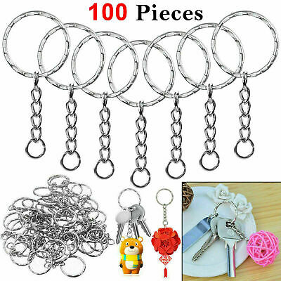 100Pcs Silver Keyring Blanks Tone Key Chains Key Fobs Split Rings 4 Link Chain