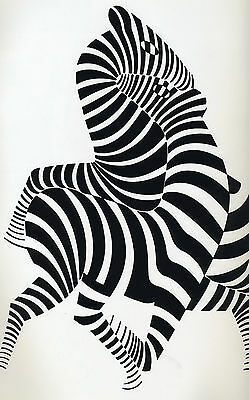 """zebra victor vasarely vintage art painting print for your glass frame 36""""  x 24"""""""