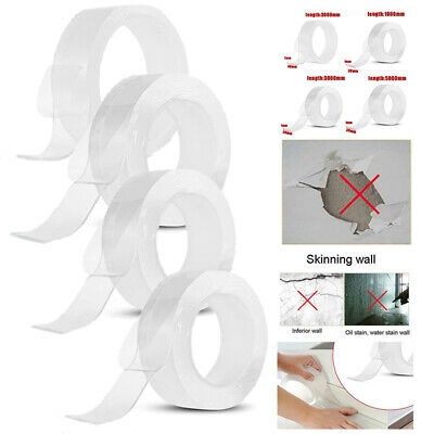 Washable Removable Nano PU Gel Grip Strong Adhesive Double Sided Traceless Tape