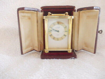 """Swiss Carriage Clock """"Looping"""" 15 Jewels Alarm 8 Day Working C1960 With Case"""