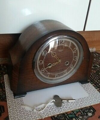 Antique Smiths Enfield Mantel Clock* Running* With Original Key*