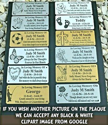 "Memorial Bench Plaque Personalised Grave Sign 5"" X 2"" - 3 Colours & 12 Designs"