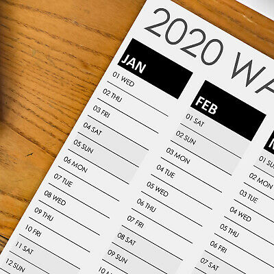 2020 Wall Planner Large Poster Calendar in A3, A2 & A1 size in black