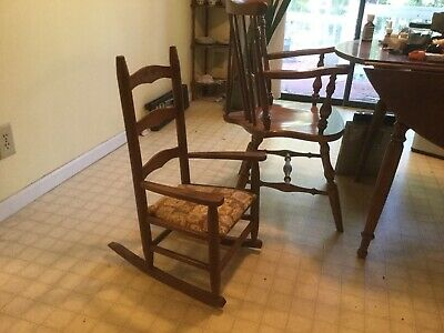 Antique Child's Rocking Chair Solid Wood Rocker