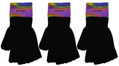 1 Mens Fingerless Magic Stretch Gloves / One Size