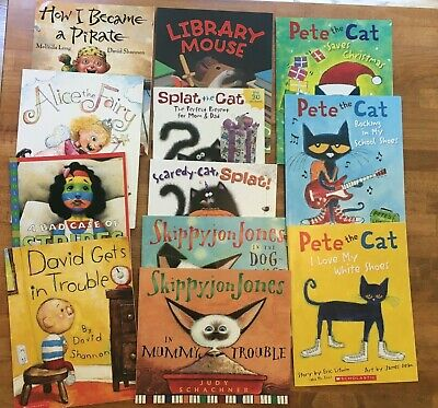Lot 12 Kids Books David Shannon Pete the Cat Skippyjon Jones Splat Library Mouse