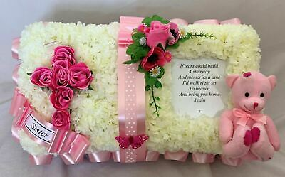 Artificial Silk Funeral Flower Open Book Bible Wreath Child Floral Tribute Pink
