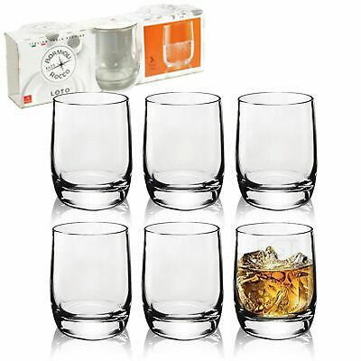3 or 6 Bormioli Rocco Loto 200ml Short Drinking Glasses Whisky Tumblers Cups Set
