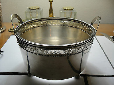 Antique Meriden Original All  Sterling Silver Handled Ice Bowl+Liner Ball Feet