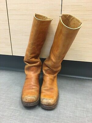 22ad3d457a606 VINTAGE FRYE TALL Campus Tan Leather Boots Womens Size 8