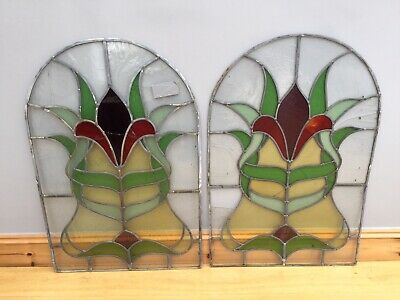 Antique Stained Glass Windows Art Nouveau X 2 Old Repair Leaded Panels Reclaimed