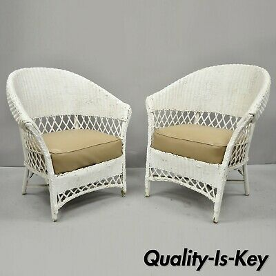 Antique Pair of of White Wicker Rattan His and Hers Sunroom Victorian Arm Chairs