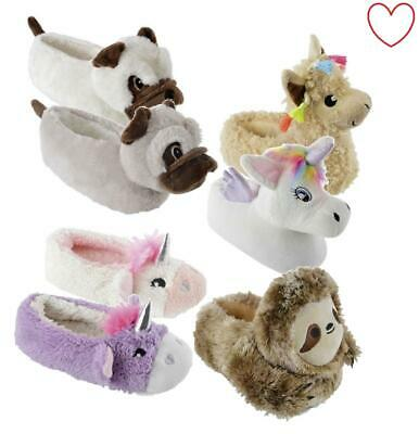 Novelty Girls Character Plush Animal Slippers Nightwear