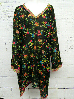 Johnny Was Womens Plus Size 2X Cotton Floral Bell Sleeve Tunic/Dress