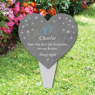 Personalised Heart Memorial Plaque Grave Marker, Baby footprint memorial plaque