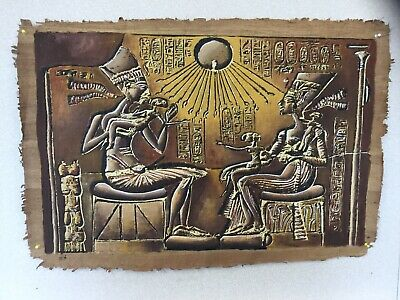 Vintage Egyptian Painting On Papyrus Raffia Style Paper - Signed By Artist