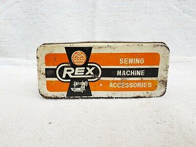 1950s Vintage Old REX Sewing Machine Accessories Tin Box