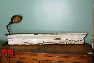 Antique Wood Window Pediment Wall Shelf Chippy Paint Architectural Salvage Decor