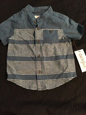 Cat & Jack Target Baby Boy Or Girl Button Down Striped Shirt, 12 Months Nwt