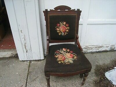 Antique  original solid wood Victorian / East lake parlor chair needle point