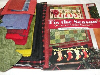 HOLLY SOX Christmas Wool Applique Pillow Kit With Book Large & Wicks 16x36""