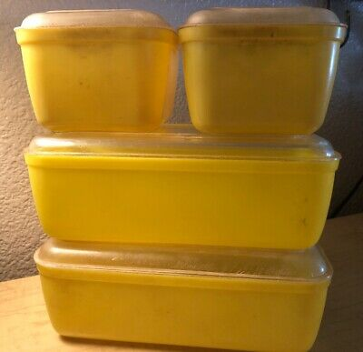 Vintage Set Of 4 Yellow Lustro Ware Plastic Refrigerator Dishes With Lids 2 Size