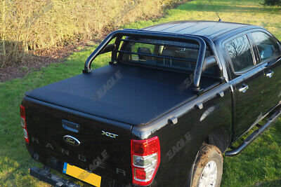 Ford Ranger T6 Black Roll bar and Soft Roll Up Tonneau Bed Cover 2012+