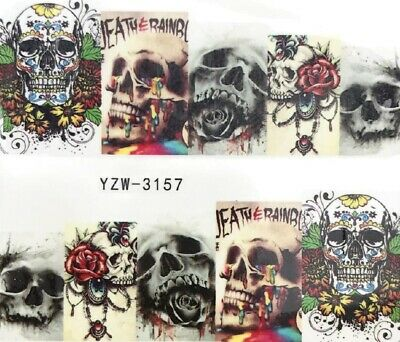 Nail Art Stickers Water Decals Transfers Halloween Skulls Roses (YZW-3157)