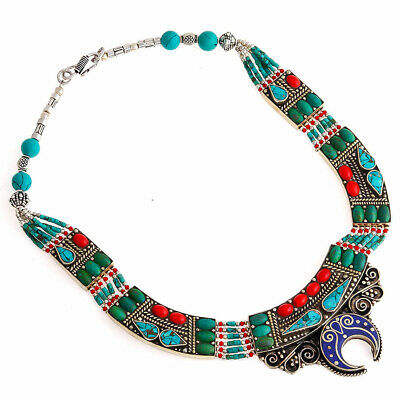 Adorable Lapis Lazuli Coral Turquoise Gemstone Jewelry Tibetan Necklace 18'' CT0
