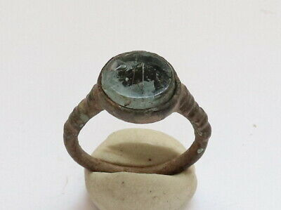 Ancient Viking Old Bronze Ring With Stone VERY RARE
