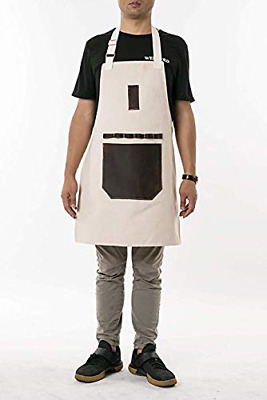 Heavy Duty Waxed Canvas Workshop Pottery Craft Carpenter Tool Apron with Eight