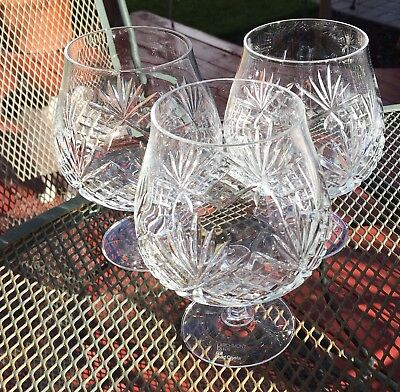 Mikasa Crystal LARCHMONT Set of 3 Brandy Snifters Glasses