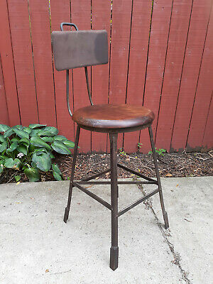Pleasing Vintage Industrial Adjustable Draftsman Stool Metal Frame Squirreltailoven Fun Painted Chair Ideas Images Squirreltailovenorg