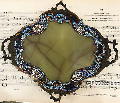 Rare Large Antique French Bronze Champleve Enamel Green Onyx Tray Platter c1880