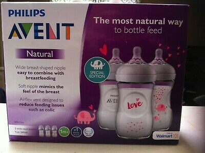 PHILIPS Avent 3 wide neck Baby Bottles 9oz Natural BPA free Walmart Exclusive