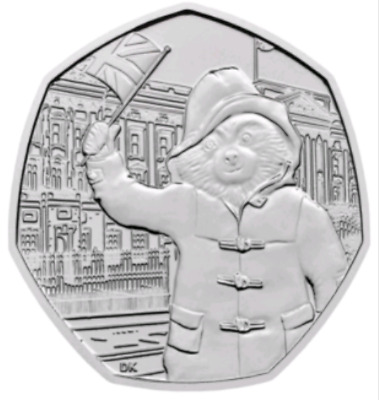 2018 Paddington Bear 50p coin at the Palace - fifty UNCIRCULATED from seated bag