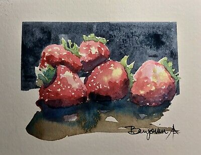 "Original Nova Scotia Watercolor Art, ""Five Strawberry"",  Not A print!"