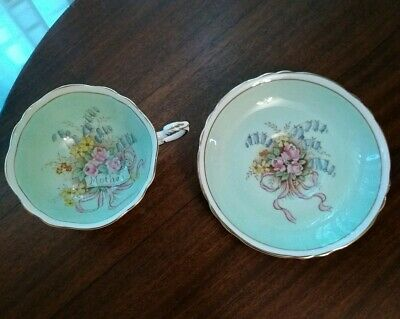 Paragon England floral bouquet Mother tea cup saucer wide, double warrant green