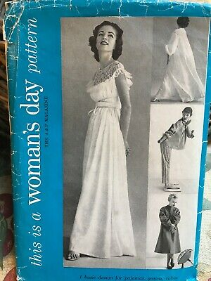 Vintage Womens Day 5076 Sewing Pattern 40s 50s Robe Pjs Uncut Rare Sz 14 To 16
