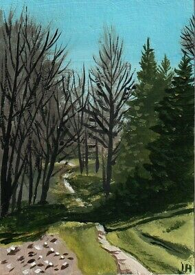 "aceo original acrylic painting ""Little Country Path"" by J. Hutson"
